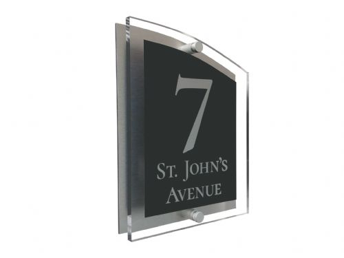 Arc Shape - Clear Acrylic House Sign - Anthracite Colour with Silver text in Font  2